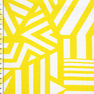 Yellow Nautical Flag Cotton Jersey Blend Knit Fabric