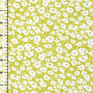 Chartreuse Daisy Silhouettes Cotton Jersey Blend Knit Fabric