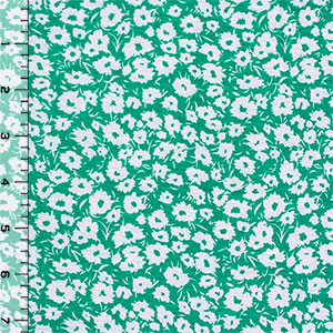 Emerald Green Daisy Silhouettes Cotton Jersey Blend Knit Fabric
