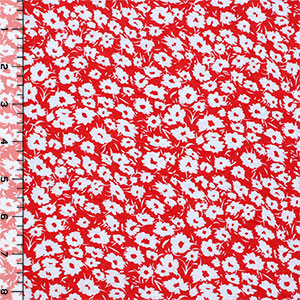Coral Red Daisy Silhouettes Cotton Jersey Blend Knit Fabric