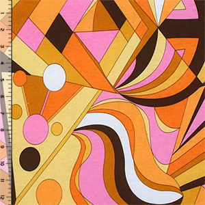 Brown Orange Mod Abstract Cotton Jersey Blend Knit Fabric