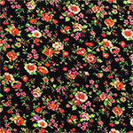Bright Coral Floral Vines on Black Cotton Jersey Blend Knit Fabric