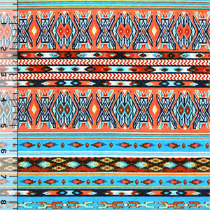 Sky Blue Orange Small Navajo Stripe Cotton Jersey Blend Knit Fabric