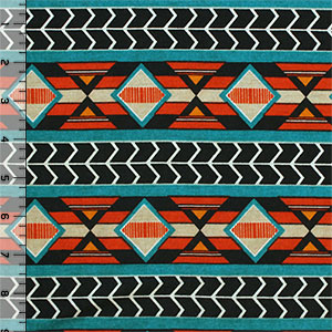 Teal Blue Orange Navajo Stripes Cotton Jersey Blend Knit Fabric