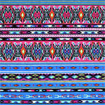 Fuchsia Pink Blue Small Navajo Stripe Cotton Jersey Blend Knit Fabric