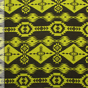 Navajo Arrow Tribal Chartreuse Brown Cotton Jersey Spandex