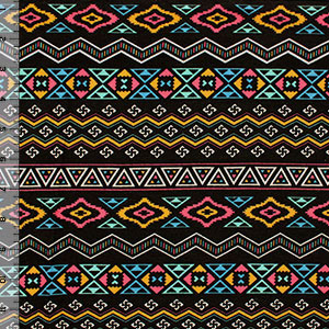 Small Navajo Ethnic Brights Cotton Spandex Blend Knit Fabric
