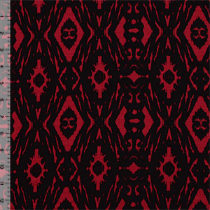 Black Ikat on Red Cotton Spandex Blend Knit Fabric