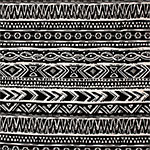 Cream Black Painted Ethnic Cotton Spandex Knit Fabric