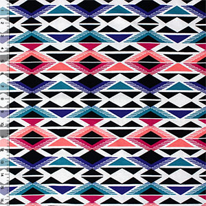 Color Geo Triangle Arrows Cotton Spandex Knit Fabric