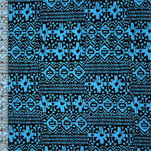 Turquoise Black Ethnic Squares Cotton Spandex Knit Fabric