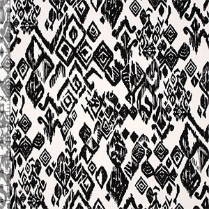 Black Ivory Ethnic Glyphs Cotton Spandex Knit Fabric