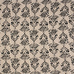 Charcoal Gray Damask on Beige Cotton Spandex Blend Knit Fabric