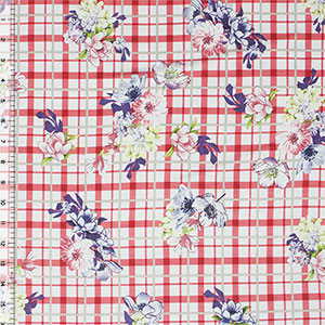 Half Yard Floral Bouquets on Coral Red Plaid Cotton Spandex Blend Knit Fabric