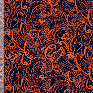 Orange Botanical Floral on Navy Cotton Spandex Blend Knit Fabric