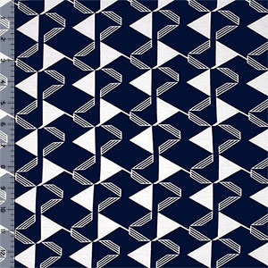 Linear Mod Triangles on Blue Cotton Spandex Blend Knit Fabric