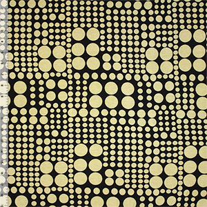 Mod Varied Dots on Black Cotton Spandex Blend Knit Fabric