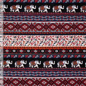 Red Navy Blue Ethnic Elephant Rows Cotton Spandex Knit Fabric