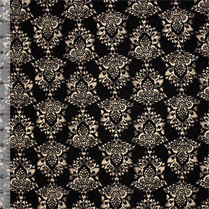Beige Stamped Damask on Black Cotton Spandex Blend Knit Fabric