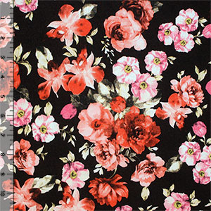Vintage Red Fuchsia Floral on Black Cotton Spandex Knit Fabric
