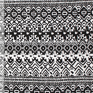 Black White Diamond Ethnic Rows Cotton Spandex Knit Fabric