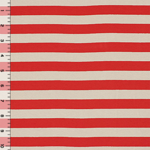 Red and Taupe Stripe Cotton Spandex Knit Fabric