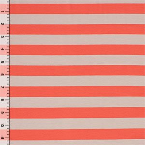 Half Yard Coral and Taupe Stripe Cotton Spandex Knit Fabric