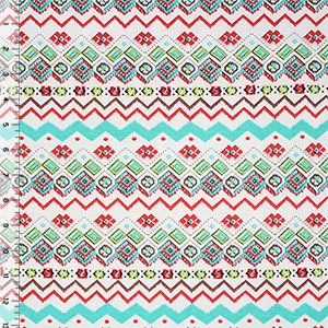 Turquoise Red Green Small Ethnic Cotton Spandex Blend Knit Fabric
