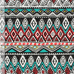 Red Teal Ethnic Diamond Rows Cotton Spandex Knit Fabric