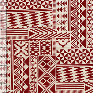 Red Aztec Squares on Tan Cotton Spandex Blend Knit Fabric