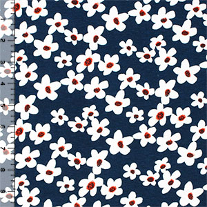 White Daisies on Blue Cotton Spandex Blend Knit Fabric