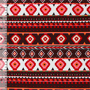 Red Pink Navajo Ethnic Stripe Cotton Spandex Blend Knit Fabric