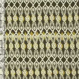 Half Yard Muted Green Ethnic Ikat Cotton Spandex Blend Knit Fabric