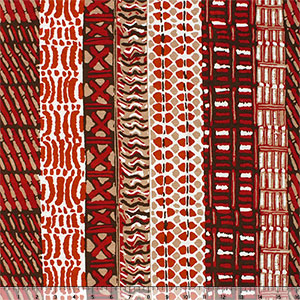Slightly Flawed Red Vertical Ethnic Rows Cotton Spandex Blend Knit Fabric