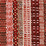 Red Vertical Ethnic Rows Cotton Spandex Blend Knit Fabric