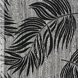 Retro Linear Palm Leaf Cotton Spandex Blend Knit Fabric