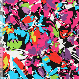 Bright Abstract Floral Cotton Spandex Knit Fabric