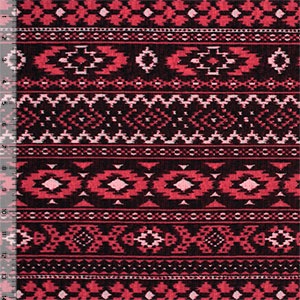 Brick Red Stitched Navajo Cotton Spandex Blend Knit Fabric