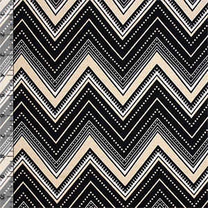 Cream Black Decorated Chevron Cotton Spandex Blend Knit Fabric
