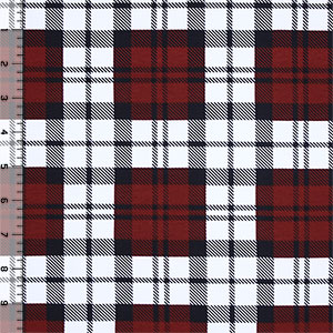 Black White Red Glasgow Plaid Cotton Spandex Blend Knit Fabric