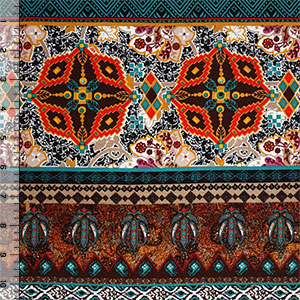 Half Yard Teal Red Kaleidoscope Ethnic Cotton Spandex Blend Knit Fabric