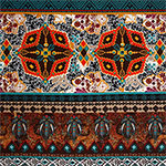 Teal Red Kaleidoscope Ethnic Cotton Spandex Blend Knit Fabric