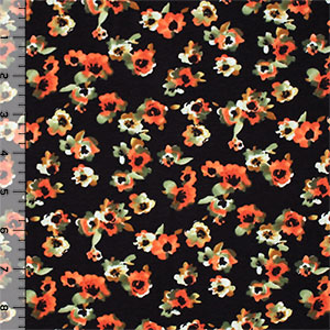 Orange Olive Watercolor Flowers on Black Cotton Spandex Knit Fabric