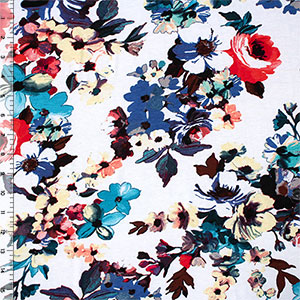 Teal Plum Watercolor Floral on White Cotton Spandex Blend Knit Fabric