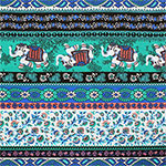 Green Gray Ethnic Elephant Rows Cotton Spandex Blend Knit Fabric