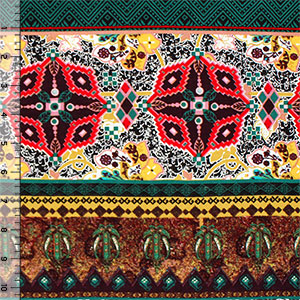 Half Yard Green Gold Kaleidoscope Ethnic Cotton Spandex Blend Knit Fabric