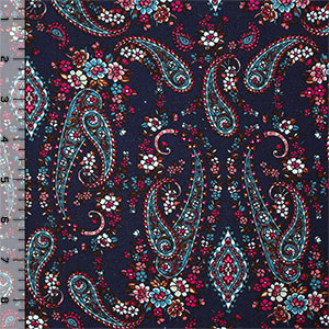 Fuchsia Blue Paisley on Navy Cotton Spandex Blend Knit Fabric