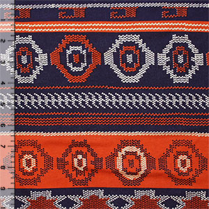 Navy Orange Tiny Arrow Navajo Cotton Spandex Blend Knit Fabric