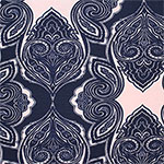 Big Navy Paisley on Pink Cotton Spandex Blend Knit Fabric