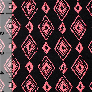 Coral Hand Drawn Diamonds on Black Cotton Spandex Blend Knit Fabric